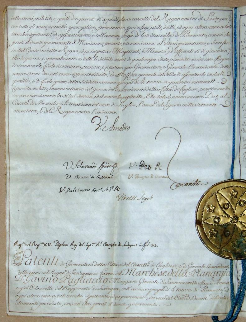 Vittorio Amedeo III, Reali Patenti di Governatore della Città e del Castello di Cagliari, in favore di Gavino Paliaccio (1783)