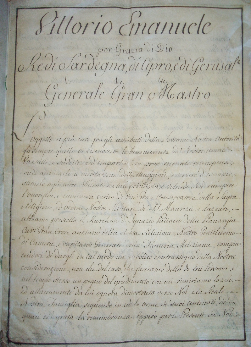 Vittorio Emanuele I, Reali Patenti Magistrali dell'ordine dei Santi Maurizio e Lazzaro, Cagliari (1812)