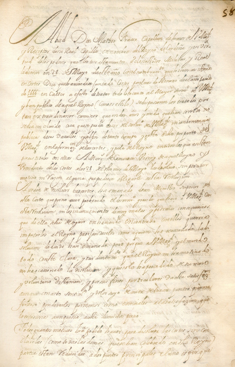 Matheo Frasso, Memorial a la Reyna mia Señora en nombre del Reyno de Cerdeña (1668)