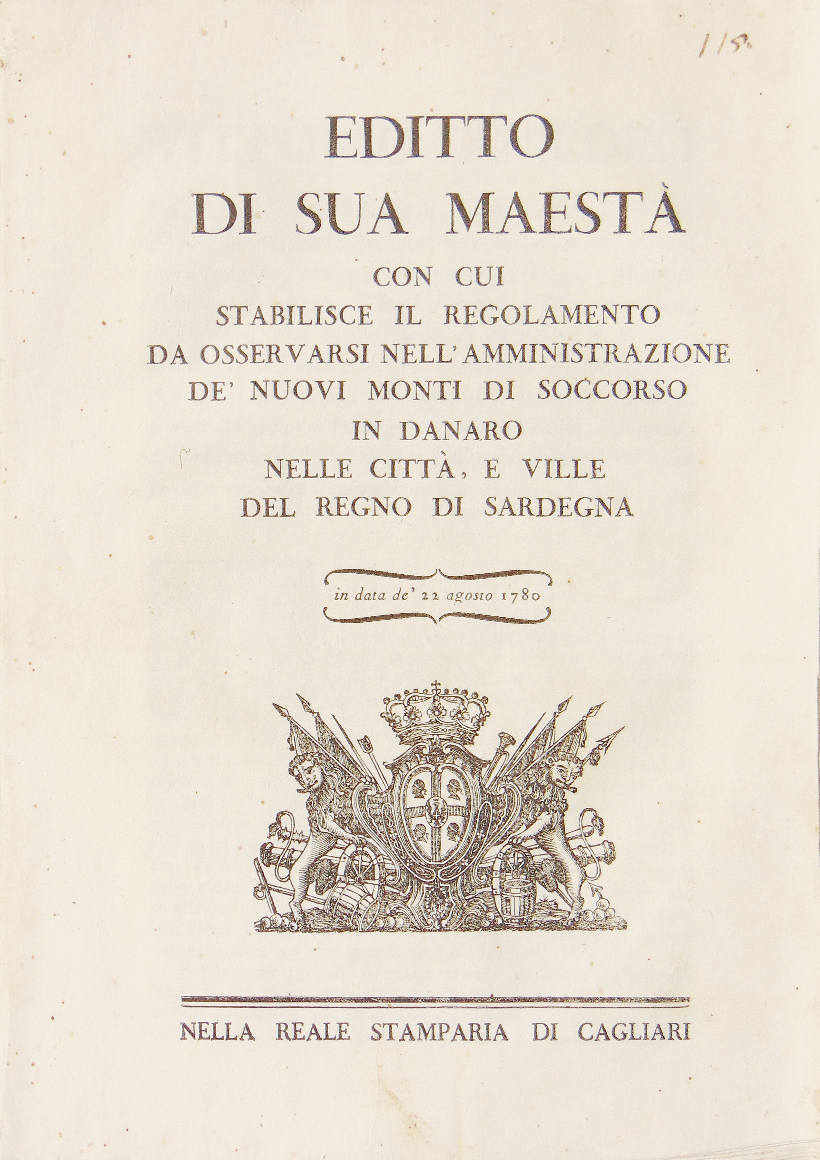 Vittorio Amedeo III, Editto per l'amministrazione de' nuovi monti di soccorso del Regno di Sardegna (1780)