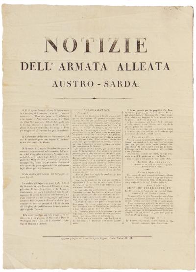Manifesto, Notizie dell'armata alleata Austro-Sarda (1815)